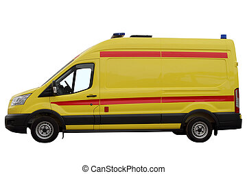The ambulance car. - The ambulance car, isolated on a white...