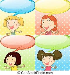 Speech bubbles and cute girls