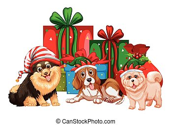 Christmas theme with dogs and presents illustration