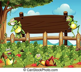 Frogs and wooden sign in the farm