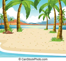 Beach scene with coconut trees illustration