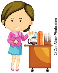 Flight attendant serving drinks illustration