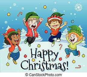 Christmas card design with kids playing with snow