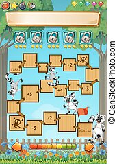 Game template with lemur in garden illustration
