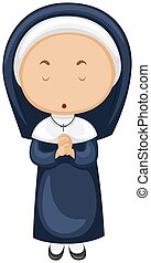 Nun in blue outfit illustration