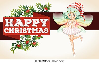 Christmas theme with fairy flying illustration