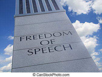 "Freedom of Speech - Monument with the words ""Freedom Of..."