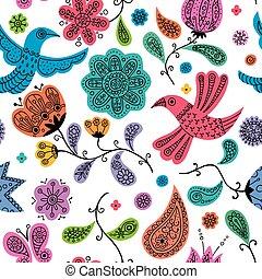 Floral Doodles Pattern - Seamless colorful floral doodles...