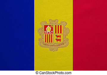 Flag of Andorra real detailed fabric texture