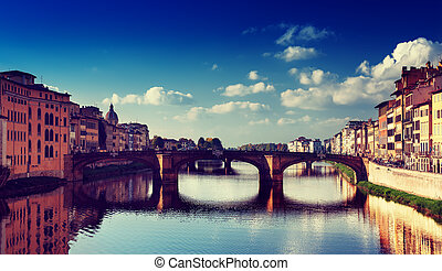 Ponte Vecchio in Florence - View from the river to the...
