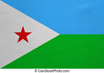 Flag of Djibouti real detailed fabric texture