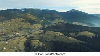 Carpathian Village in mountains. 4k, 25fps - 4K Aerial...