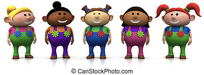 girl friends - five colorful multi-ethnic cartoon girls with...