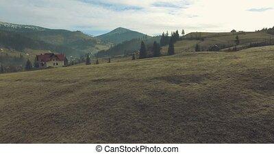 Carpathian Village in mountains. 4k, 25fps - 4K Flight above...
