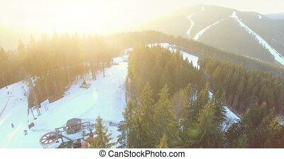 Ski resort in mountains. 4k, 25fps