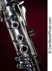 clarinete, aislado, rojo, proyector