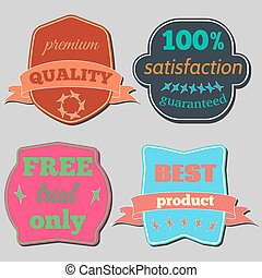Badges-21 - Set of Vector Badges with Ribbons. Web stickers...