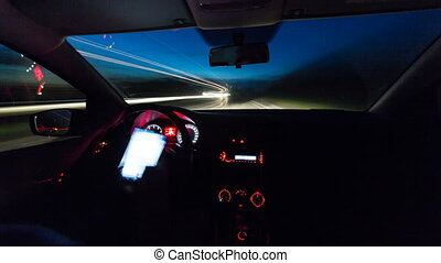 night driving a car time lapse video