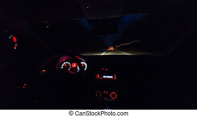 night driving a car