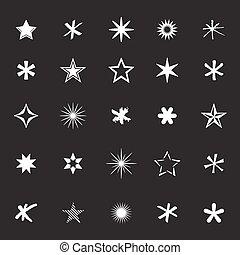 Set of White Vector Stars.