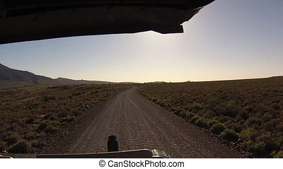 Karoo off road - First person view of a game drive on dirt...