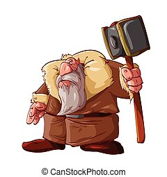 Cartoon dwarf warrior - Colorful vector illustration of a...