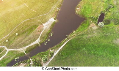 River panorama. 4k 30fps - Aerial View: Flight over the...
