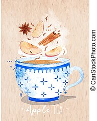 Teacup apple tea kraft - Watercolor teacup with tea, apple,...