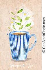 Teacup chamomile tea kraft