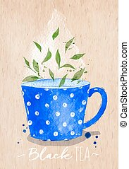 Teacup black tea kraft - Watercolor teacup with black tea...
