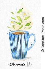 Teacup chamomile tea - Watercolor teacup with chamomile tea...
