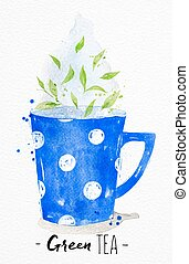 Teacup green tea - Watercolor teacup with green tea drawing...
