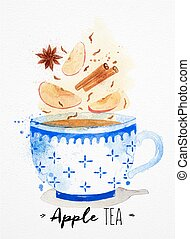 Teacup apple tea - Watercolor teacup with tea, apple,...