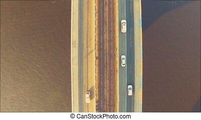 Metro Bridge in Kiev. 4k, 30 fps