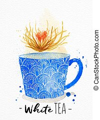Teacup white tea - Watercolor teacup with white tea drawing...