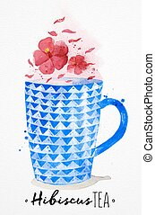 Teacup red tea - Watercolor teacup with red tea, hibiscus...