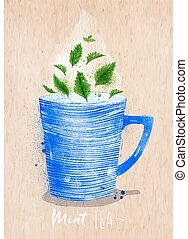 Teacup mint tea kraft - Watercolor teacup with mint tea...