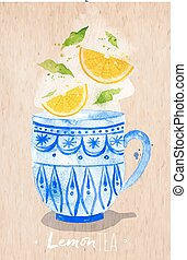 Teacup lemon tea kraft - Watercolor teacup with lemon tea...