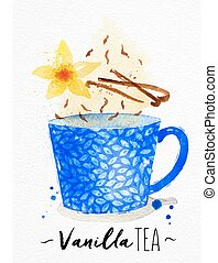 Teacup vanilla tea - Watercolor teacup with vanilla tea,...