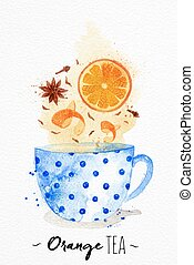 Teacup orange tea - Watercolor teacup with orange tea,...