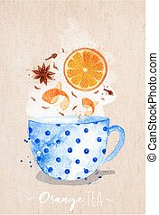 Teacup orange tea kraft - Watercolor teacup with orange tea,...