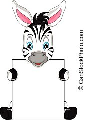 cute zebra cartoon and blank sign