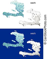 Haiti map in geometric polygonal.