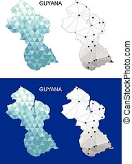 Guyana map in geometric polygonal.