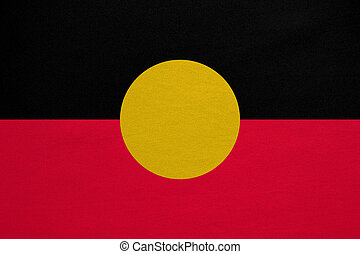 Australian Aboriginal flag detailed fabric texture -...