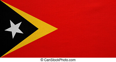 Flag of East Timor real detailed fabric texture - East...