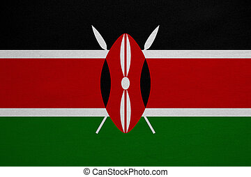 Flag of Kenya real detailed fabric texture - Kenyan national...