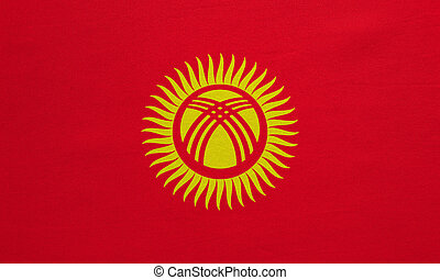 Flag of Kyrgyzstan real detailed fabric texture -...