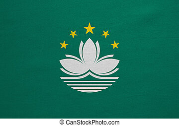 Flag of Macau real detailed fabric texture - Macanese...
