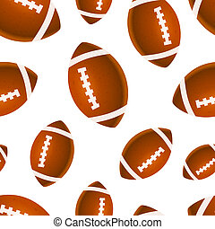 Many bright rugby balls on white, seamless pattern - A lot...